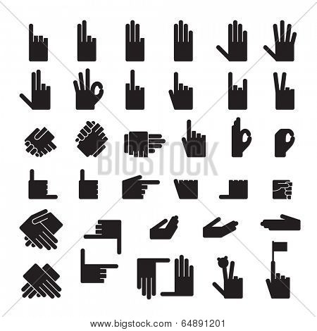set of 33 hands position.Icons