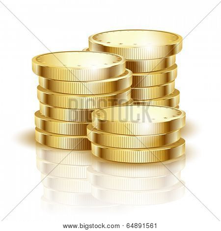 Illustration of gold coins on a white background. Vector.