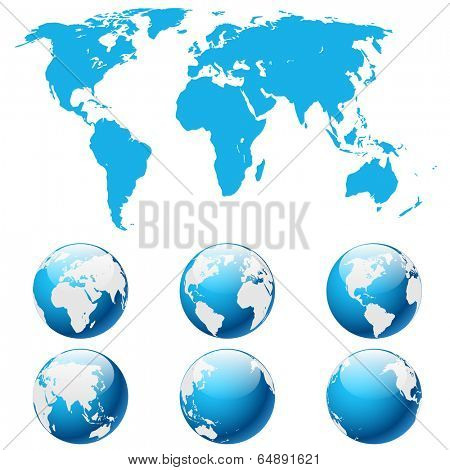 Illustration globe Earth isolated on white background. Vector. eps 10.