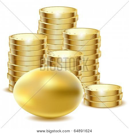 Illustration of golden egg end coins on a white background. Vector.