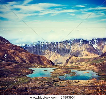Vintage retro effect filtered hipster style travel image of mountain lakes in Spiti Valley in Himalayas. Himachal Pradesh, India