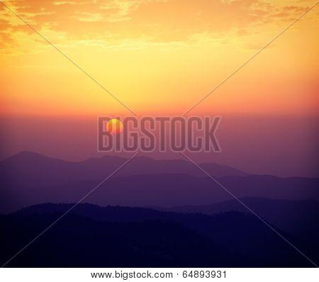 Vintage retro effect filtered hipster style travel image of sunset in Himalayas. Shimla, Himachal Pradesh, India