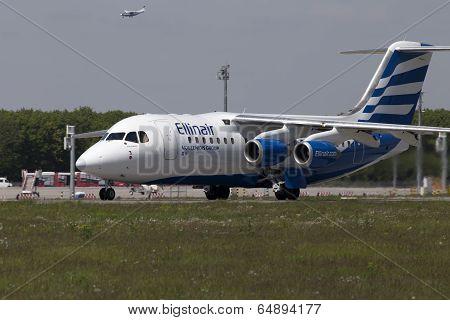 Ellinair British Aerospace Avro RJ85 aircraft preparing for take-off from the runway