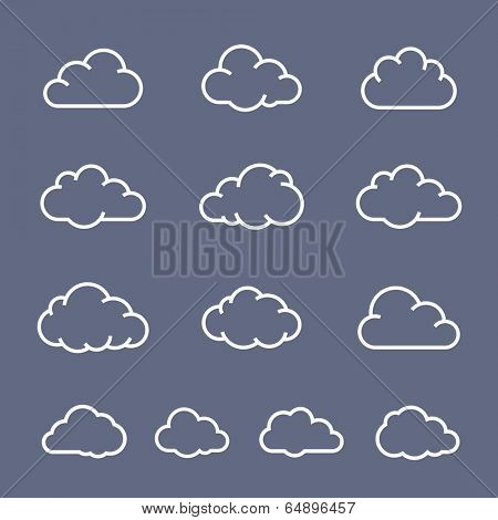 Cloud shape collection. Cloud vector icons