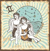 foto of gemini  - Gemini boys zodiac signs of Horoscope circle with constellation on shabby vintage background - JPG