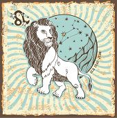 pic of leo  - Leo zodiac signs of Horoscope circle with constellation on shabby vintage background - JPG
