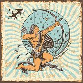 picture of shoot out  - Sagittarius zodiac signs of Horoscope circle with constellation on shabby vintage background - JPG