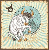 picture of zodiac sign  - Taurus zodiac signs of Horoscope circle with constellation on shabby vintage background - JPG