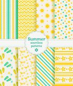 stock photo of aquamarine  - Set of summer and beach seamless patterns - JPG