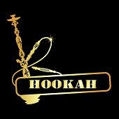 pic of hookah  - design symbol golden hookah for the vector - JPG