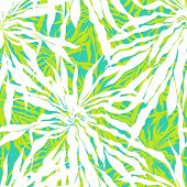 picture of jungle flowers  - Vector seamless pattern with leafs inspired by tropical nature and plants like palm trees in multiple colors - JPG