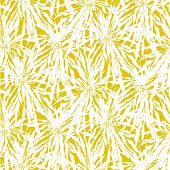 image of tropical plants  - Vector seamless pattern with leafs inspired by tropical nature and plants like palm trees in bright yellow and white colors - JPG