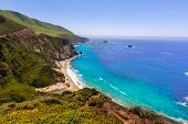 stock photo of bixby  - California  beach near Bixby bridge in Big Sur in Monterey County along State Route 1 US - JPG