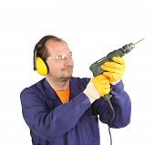 stock photo of muffs  - Worker in ear muffs and glasses with drill. Isolated on a white background.