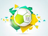 stock photo of football pitch  - Shiny soccer ball with stylish text let - JPG