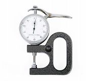 pic of micrometer  - Micrometer with the round white dial white background - JPG