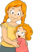 pic of little sister  - Illustration of a Little Girl Giving Her Elder Sister a Big Hug - JPG