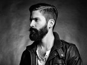 picture of single man  - Portrait of handsome man with beard - JPG