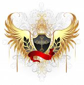stock photo of white gold  - black shield decorated with a gold cross a red ribbon and gold wings on a white background - JPG