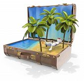 3D White People. Travel Destinations. Caribbean Islands poster