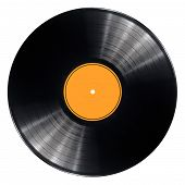 stock photo of lp  - Black vinyl record lp album disc - JPG