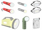 foto of torchlight  - Various kind of flash lights with LED and normal bulb - JPG