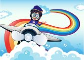 stock photo of float-plane  - Illustration of a female pilot driving the plane and a rainbow in the sky - JPG