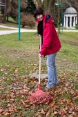 Woman Raking Leaves