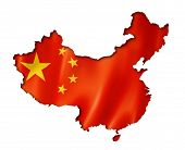 picture of communist symbol  - China flag map three dimensional render isolated on white - JPG