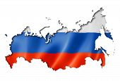 picture of three-dimensional  - Russia flag map three dimensional render isolated on white - JPG