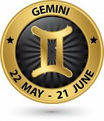 image of gemini  - Gemini zodiac gold sign gemini symbol vector illustration - JPG