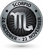 picture of scorpio  - Scorpio zodiac silver sign virgo symbol vector illustration - JPG