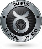 picture of taurus  - Taurus zodiac silver sign taurus symbol vector illustration - JPG