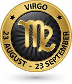 stock photo of virgo  - Virgo zodiac gold sign virgo symbol vector illustration - JPG