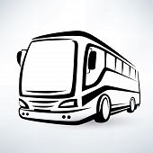 stock photo of outline  - modern bus stylized symbol outlined vector icon - JPG