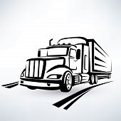 picture of lorries  - american lorry vector silhouette truck outlined sketch - JPG
