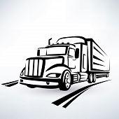 pic of lorries  - american lorry vector silhouette truck outlined sketch - JPG