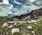 foto of himachal  - Vintage retro effect filtered hipster style travel image of mountain landscape in Himalayas - JPG