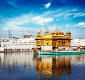 pic of sikh  - Vintage retro effect filtered hipster style travel image of Sikh gurdwara Golden Temple  - JPG