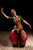 picture of bharata-natyam  - Young beautiful woman dancer exponent of Indian classical dance Bharatanatyam - JPG