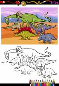 stock photo of apatosaurus  - Coloring Book or Page Cartoon Illustration of Color and Black and White Dinosaurs Group for Children - JPG