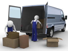 stock photo of moving van  - Movers loadng boxes into the van  - JPG