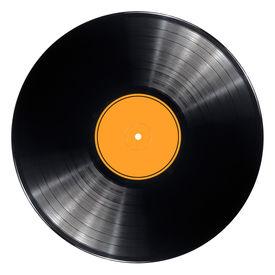 stock photo of lp  - Black vinyl record lp album disc - JPG