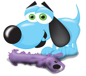 picture of toy dog  - A happy blue dog standing over his chewed up toy - JPG