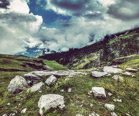 pic of himachal  - Vintage retro effect filtered hipster style travel image of mountain landscape in Himalayas - JPG
