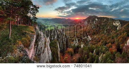 Slovakia Mountain Forest Landscape At Autumn, Sulov