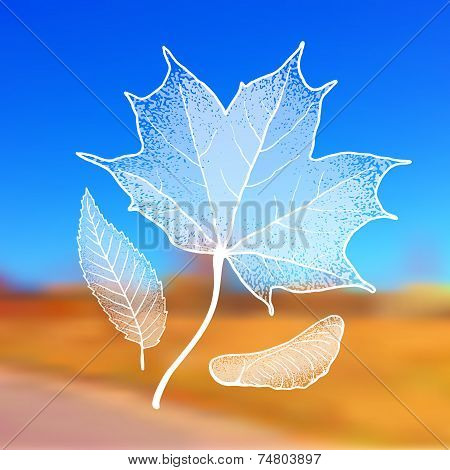 Autumn Leaves with Grunge Effect