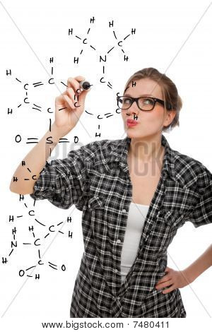 Blonde Student Girl Drawing A Chemical Formula