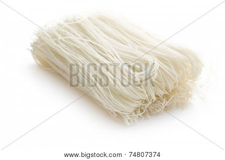 died rice noodles on white background