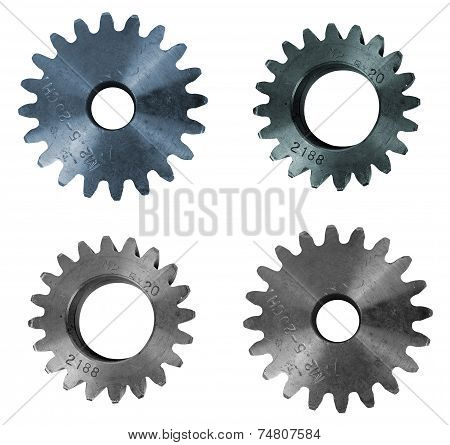 Set of cogwheel isolated on white background